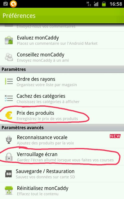 liste des courses sur android avec plancourses ex moncaddy. Black Bedroom Furniture Sets. Home Design Ideas